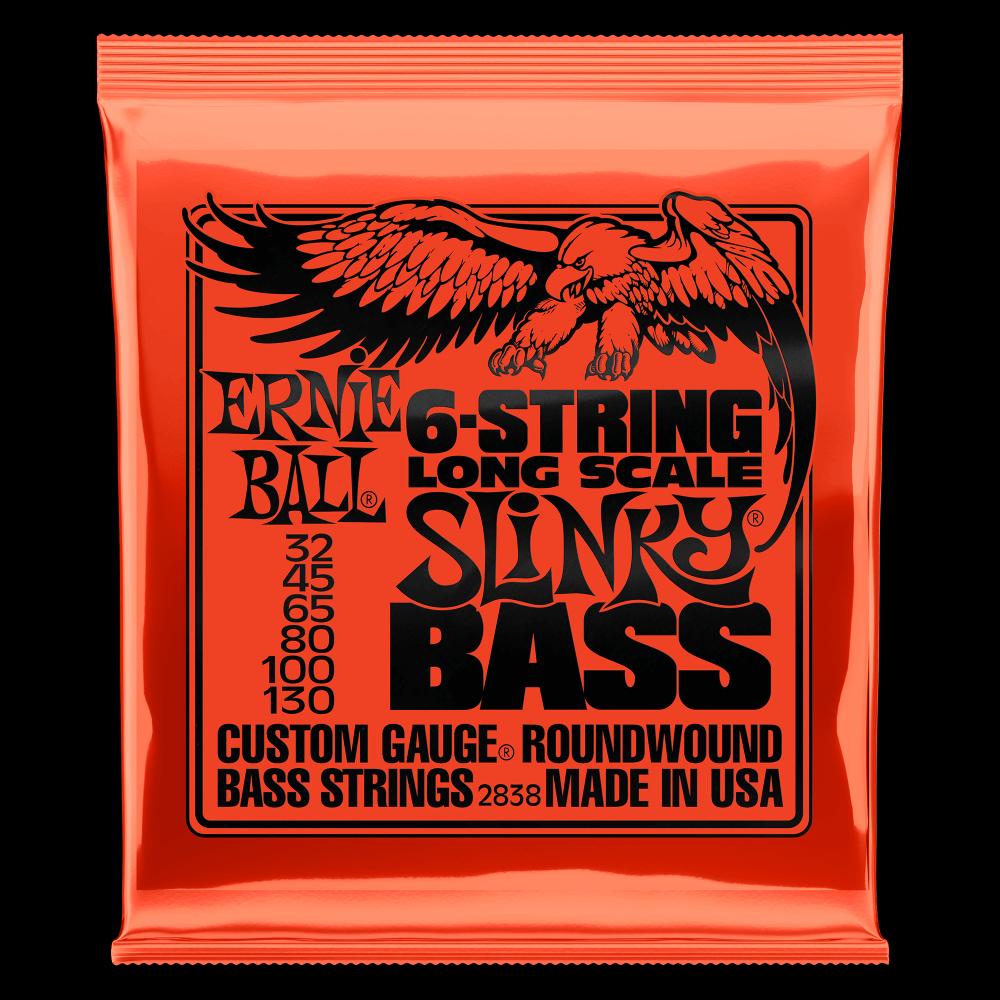 Ernie Ball Slinky Long Scale 6-String Nickel Wound Electric Bass Strings - 32-130 Gauge