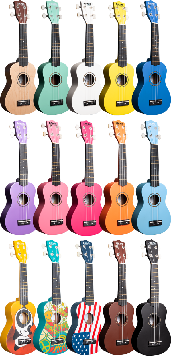 Panda Painted Ukuleles - Peace, Love, & Music - Soprano