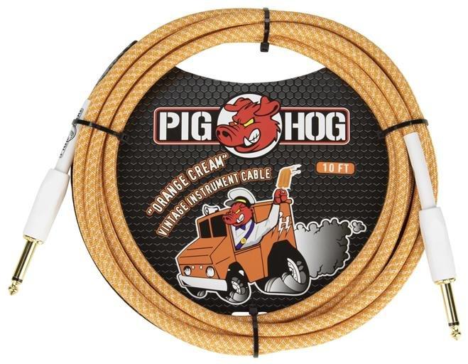 Pig Hog PCH202OC 20 ft instrument cable - Orange Creme 2.0 - 7mm woven
