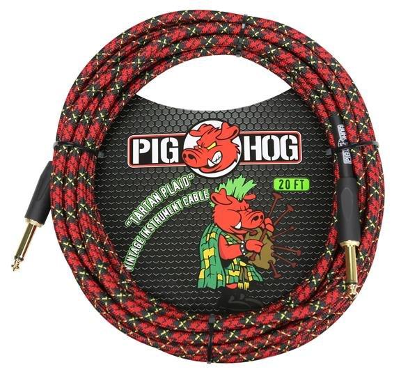 Pig Hog PCH20PL 20 ft instrument cable - 7mm woven - Tartan Plaid
