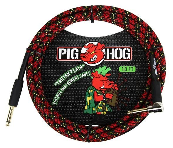 Pig Hog PCH20PLR 20 ft instrument cable - 7mm woven - Tartan Plaid - Right angle