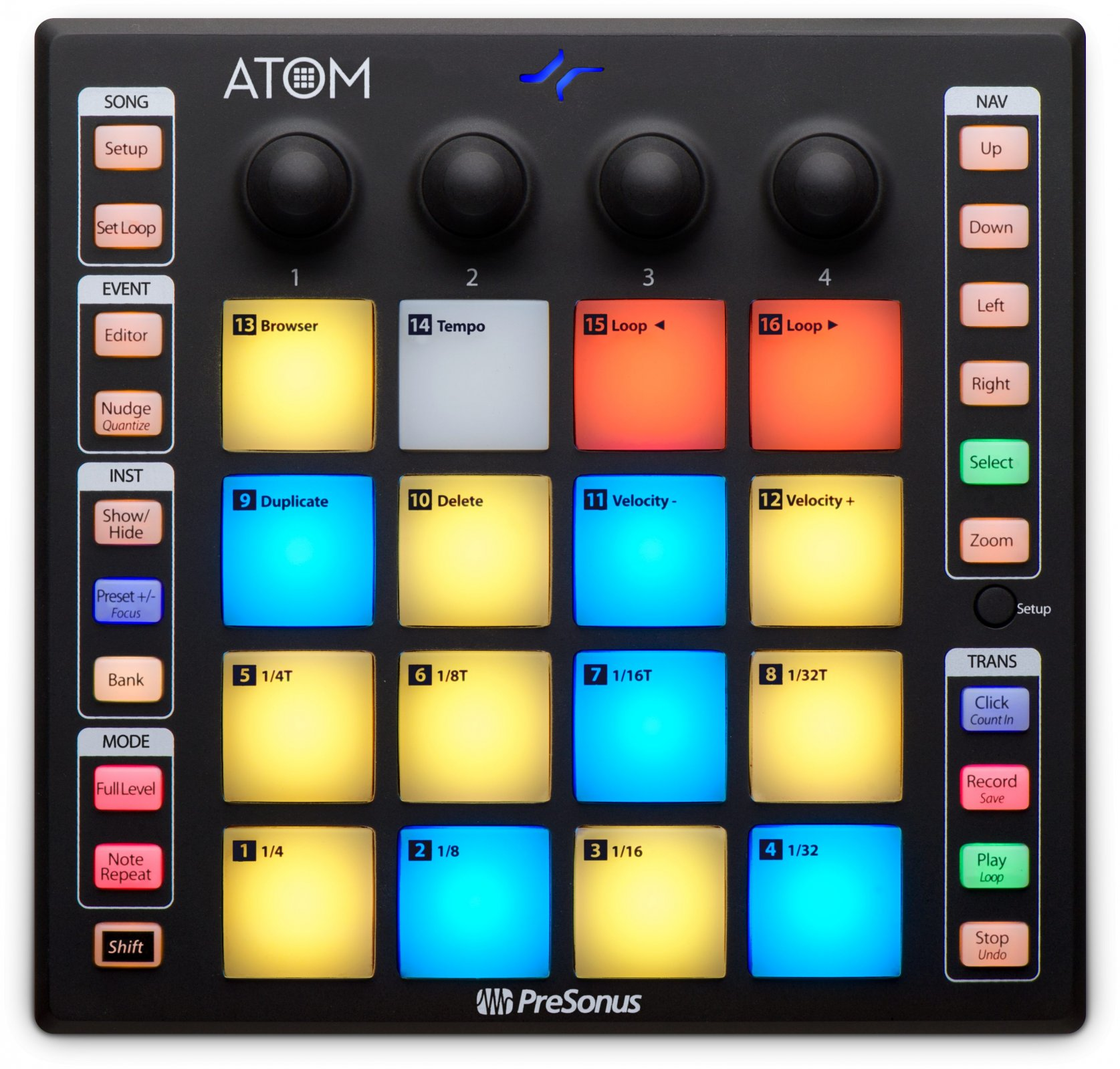 Presonus ATOM 16-pad USB MIDI Controller, Studio One Artist