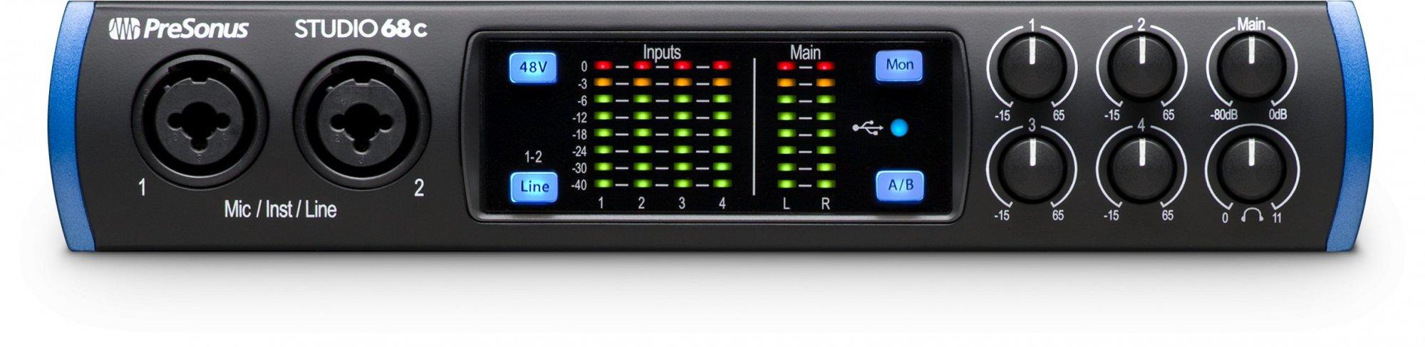 Presonus Studio 68C 6X6 USB-C / 24-bit/192kHz w/4 Mic inputs Studio One Artist