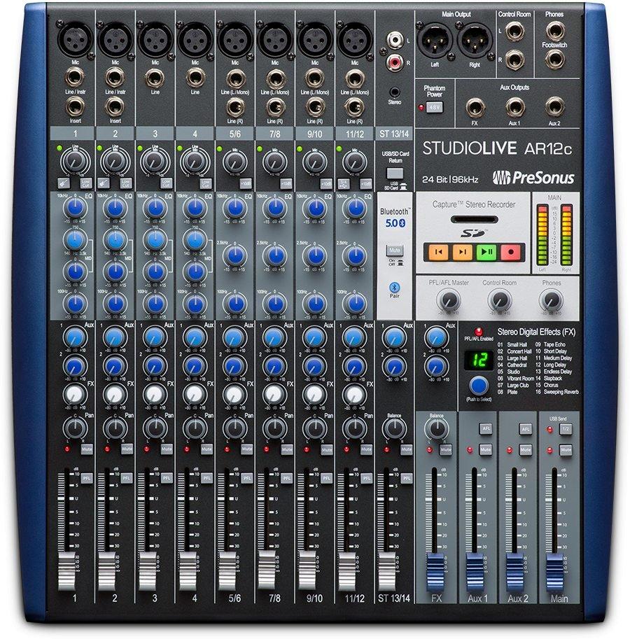 Presonus AR12c StudioLive 14-channel USB-C Compatible Audio Interface / Analog Mixer / Stereo SD Recorder