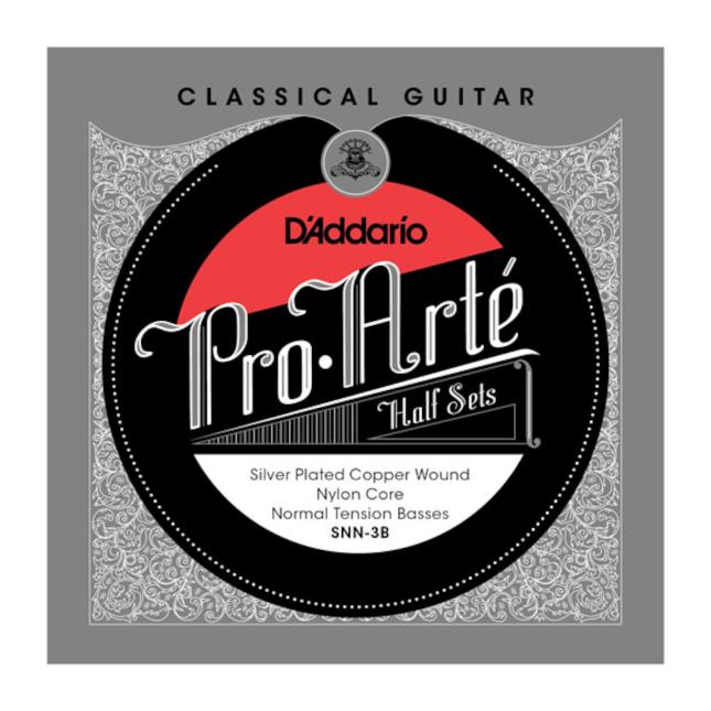 D'Addario SNH-3B Pro-Arte Silver Plated Copper on Nylon Core Classical Guitar Half Set Hard Tension