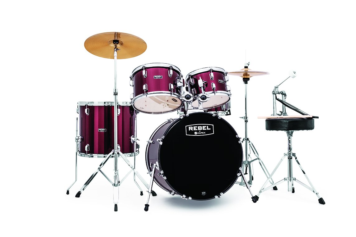 Rebel 5-Piece Complete Jazz Set Up with Fast Size Toms - Dark Red