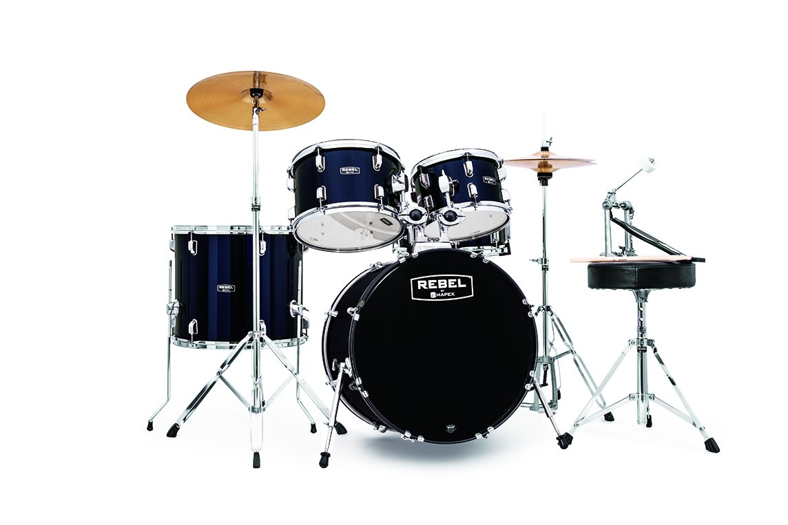 Rebel 5-Piece Complete Jazz Set Up with Fast Size Toms - Royal Blue