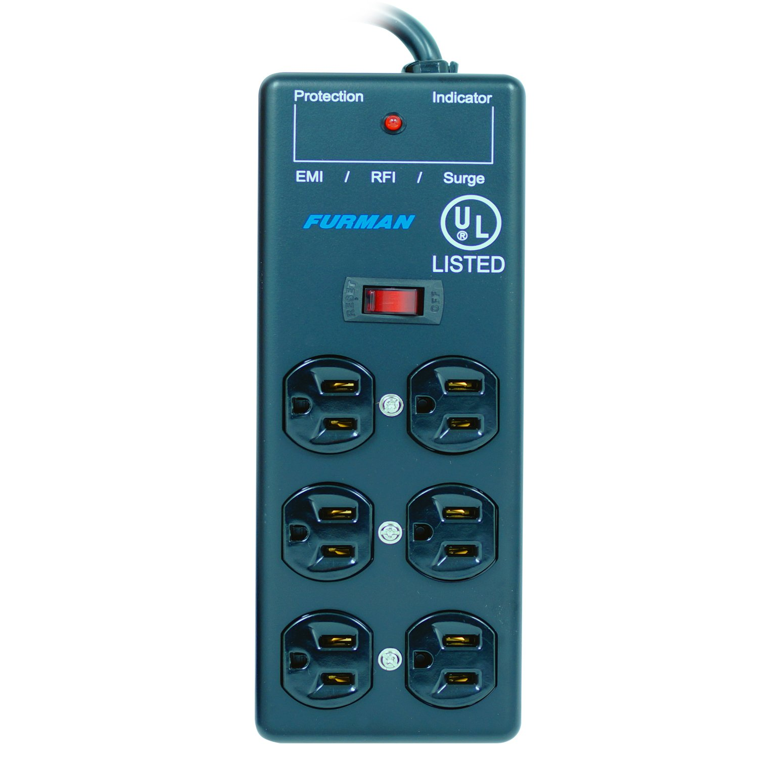 Furman SS-6B 15A AC Surge Strip 6 Outlet 2X3 Block, Metal Chassis, 15 Ft Cord