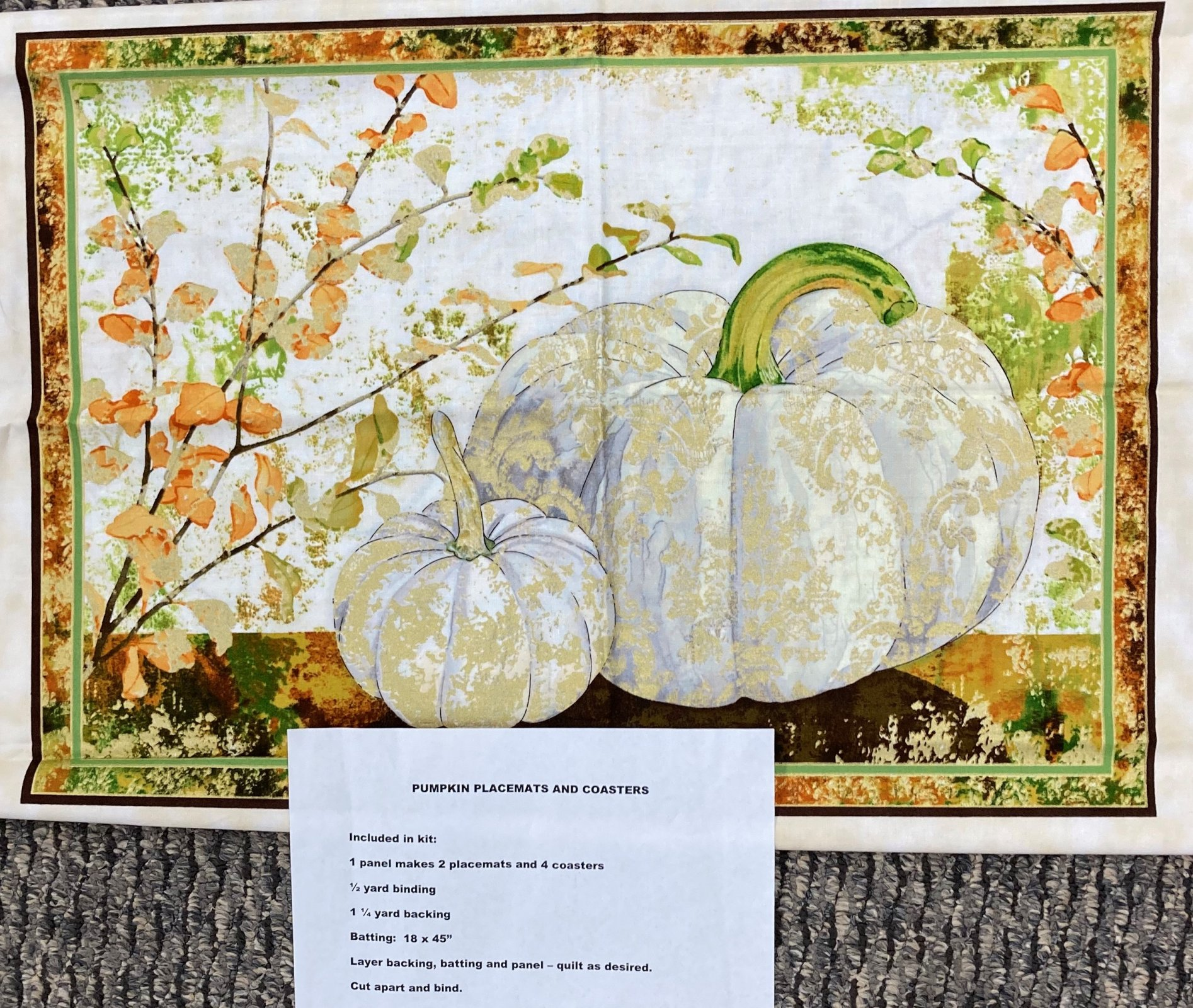 Pumpkin Placemats (2) and Coaster Kit