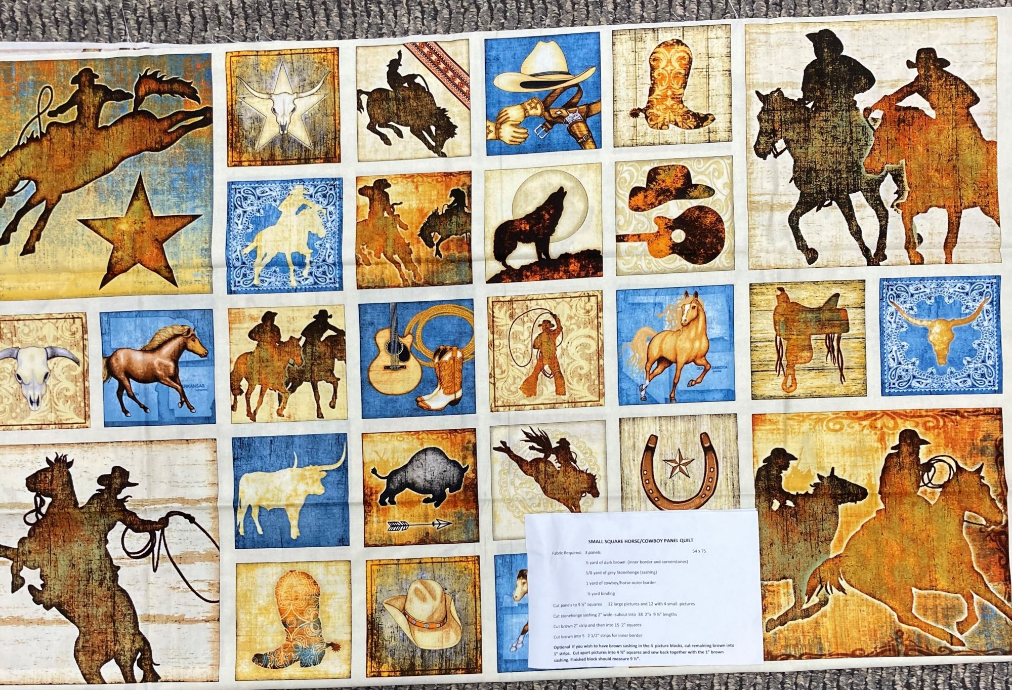 Small Square Horse-Cowboy Panel Quilt Kit 54 x 75
