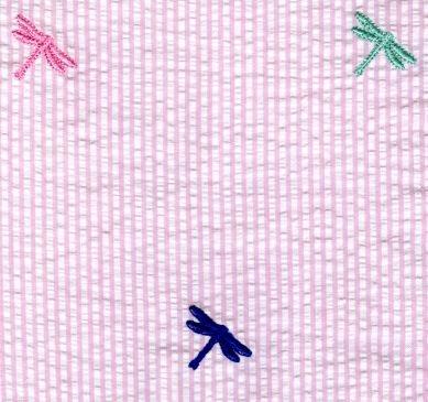 Seersucker Embroidered Multi Dragonflies On Pink