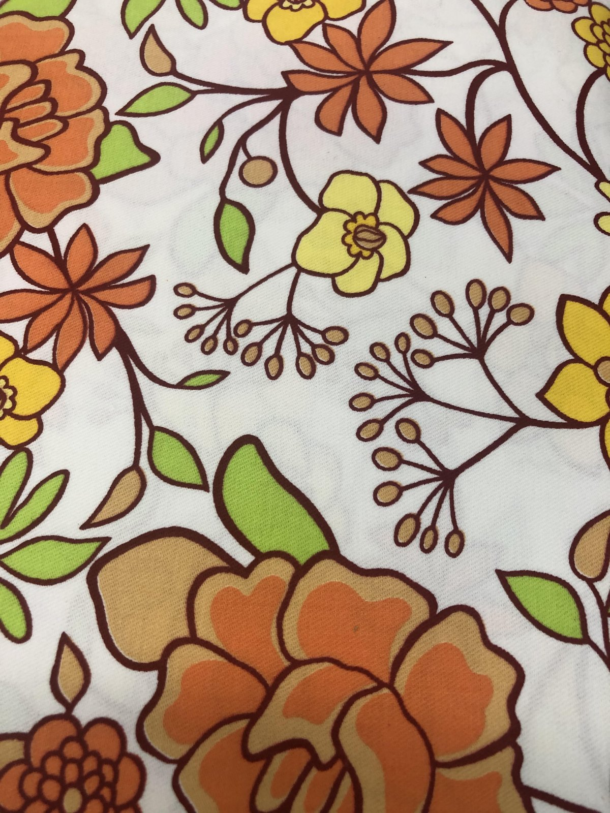 White with Orange Yellow Green Floral 58
