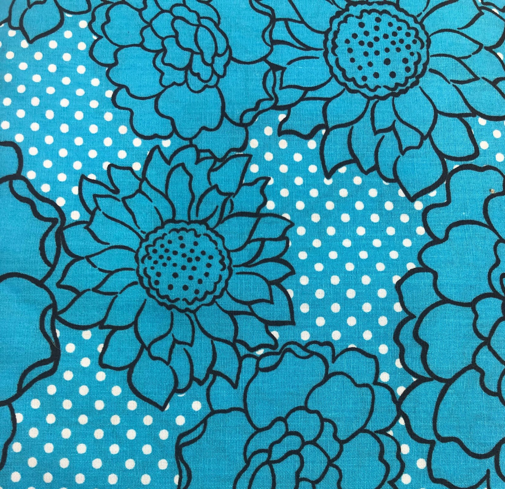 Turquoise Flowers and Dots 58