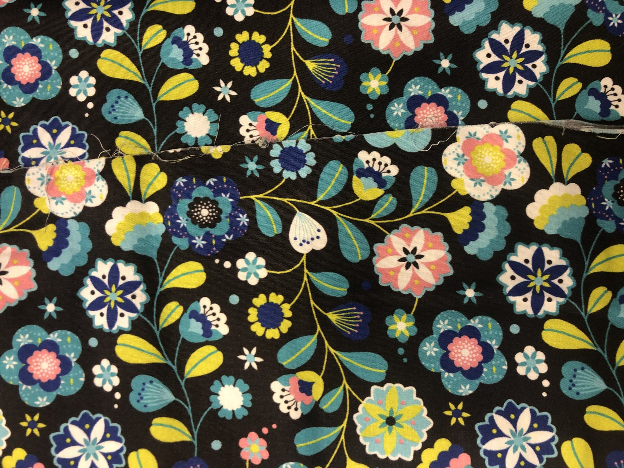 Black with Pink/Green/Blue Floral 54