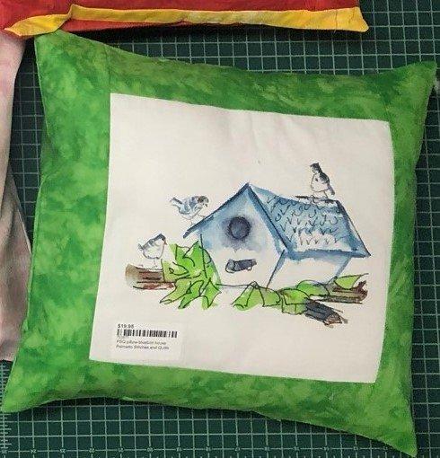 PSQ pillow-bluebird house