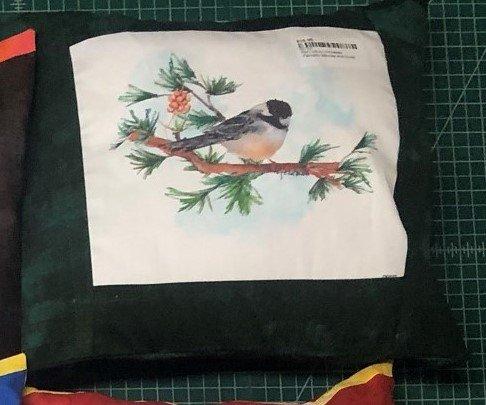 PSQ pillow-chickadee