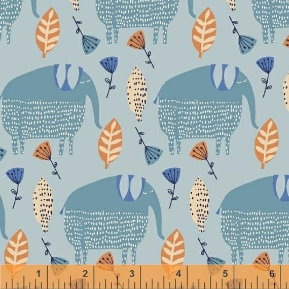Elephant Walk, Blue, Painted Jungle