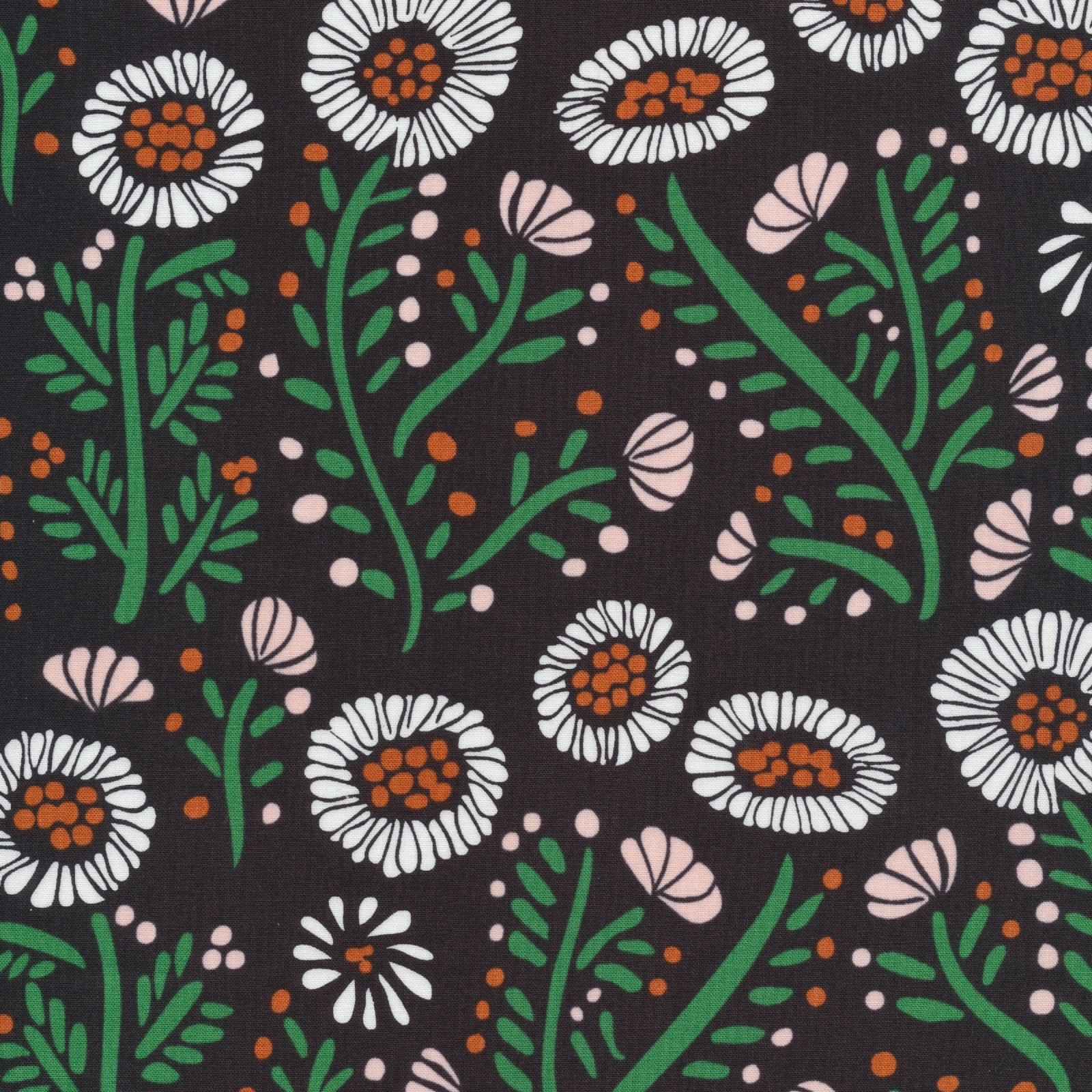 Floral Stitches, Black, Fanciful