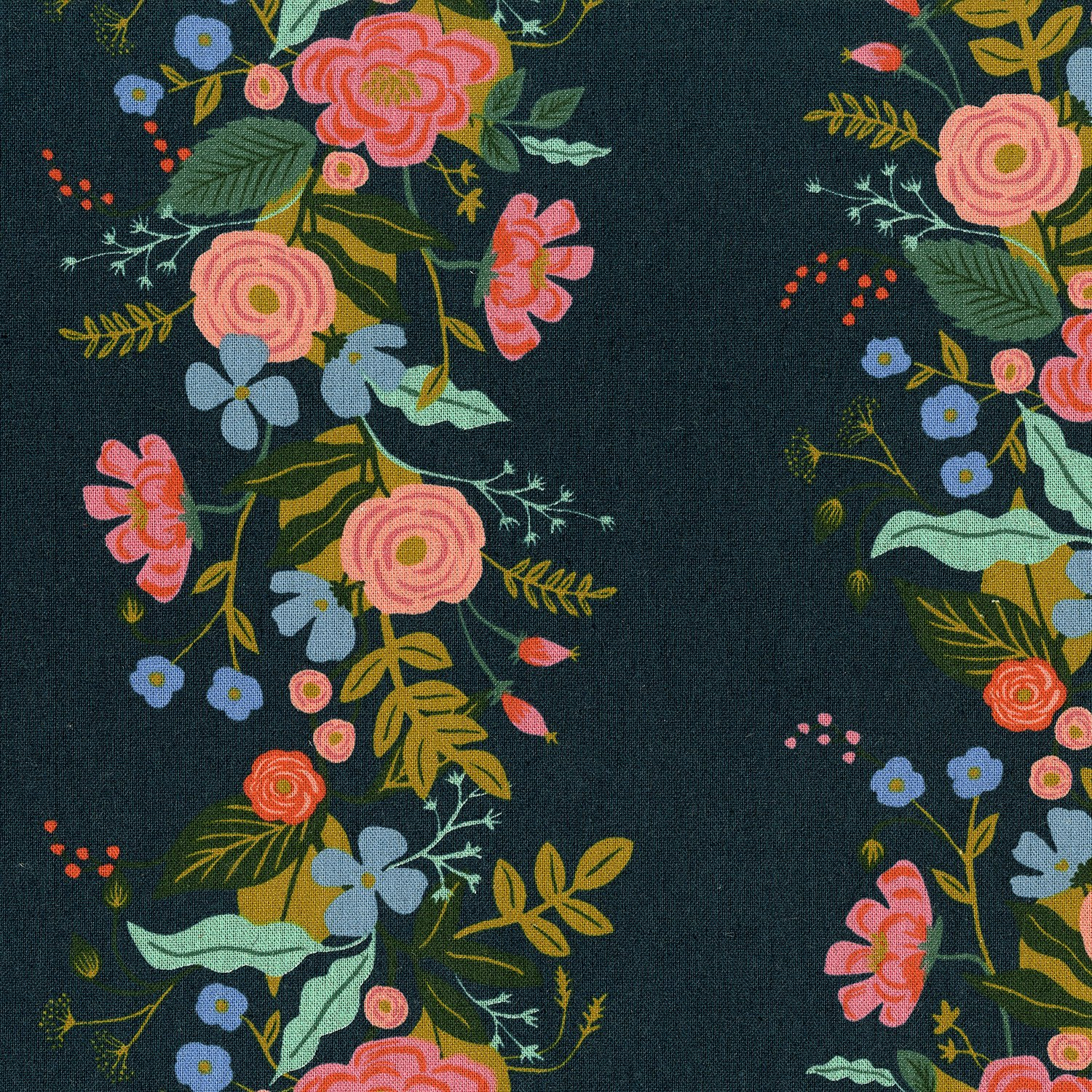 Garden Vines, Navy, Canvas, English Garden
