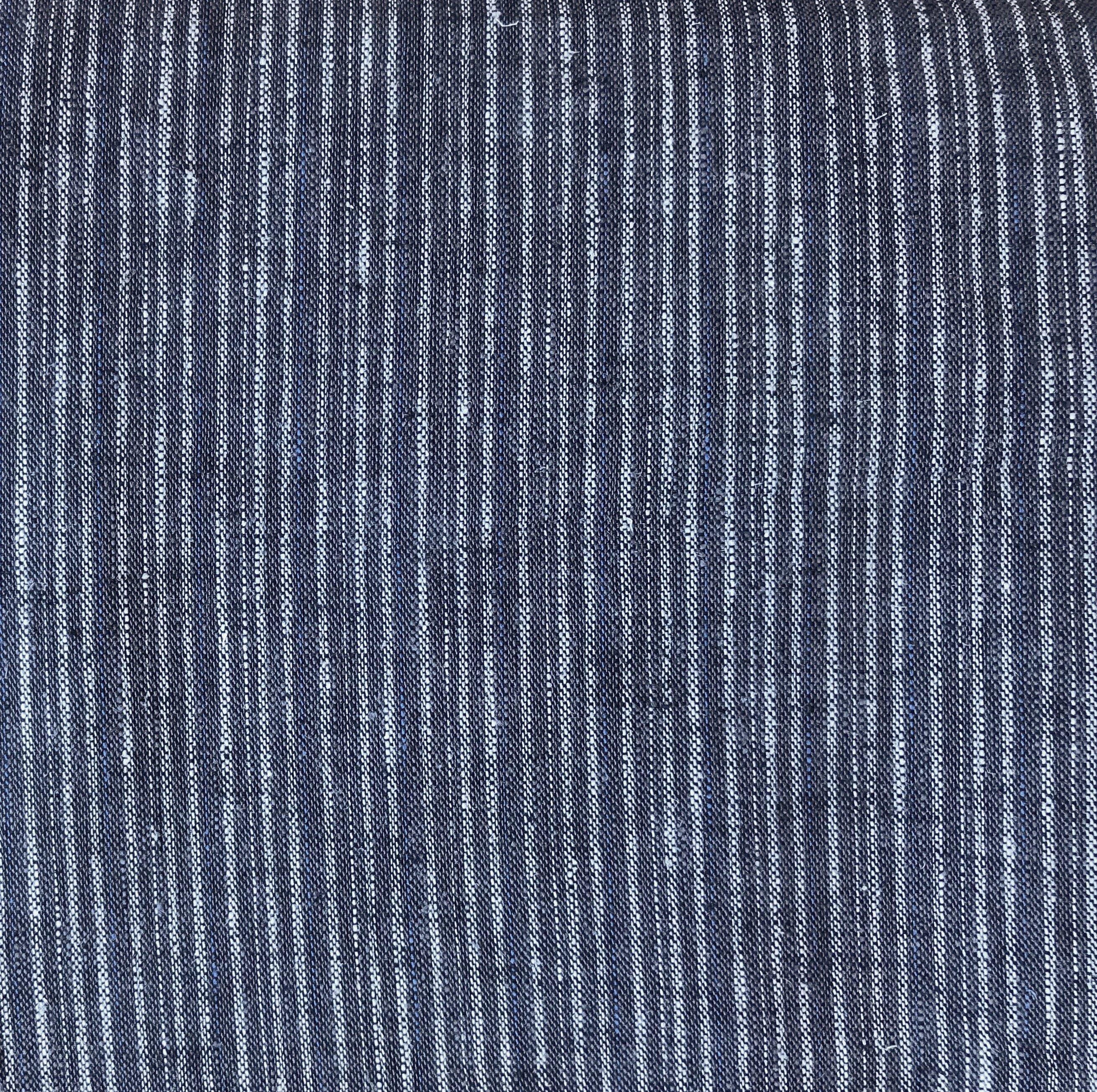 Navy Blue Hemp/Organic Cotton Ticking, HECT08