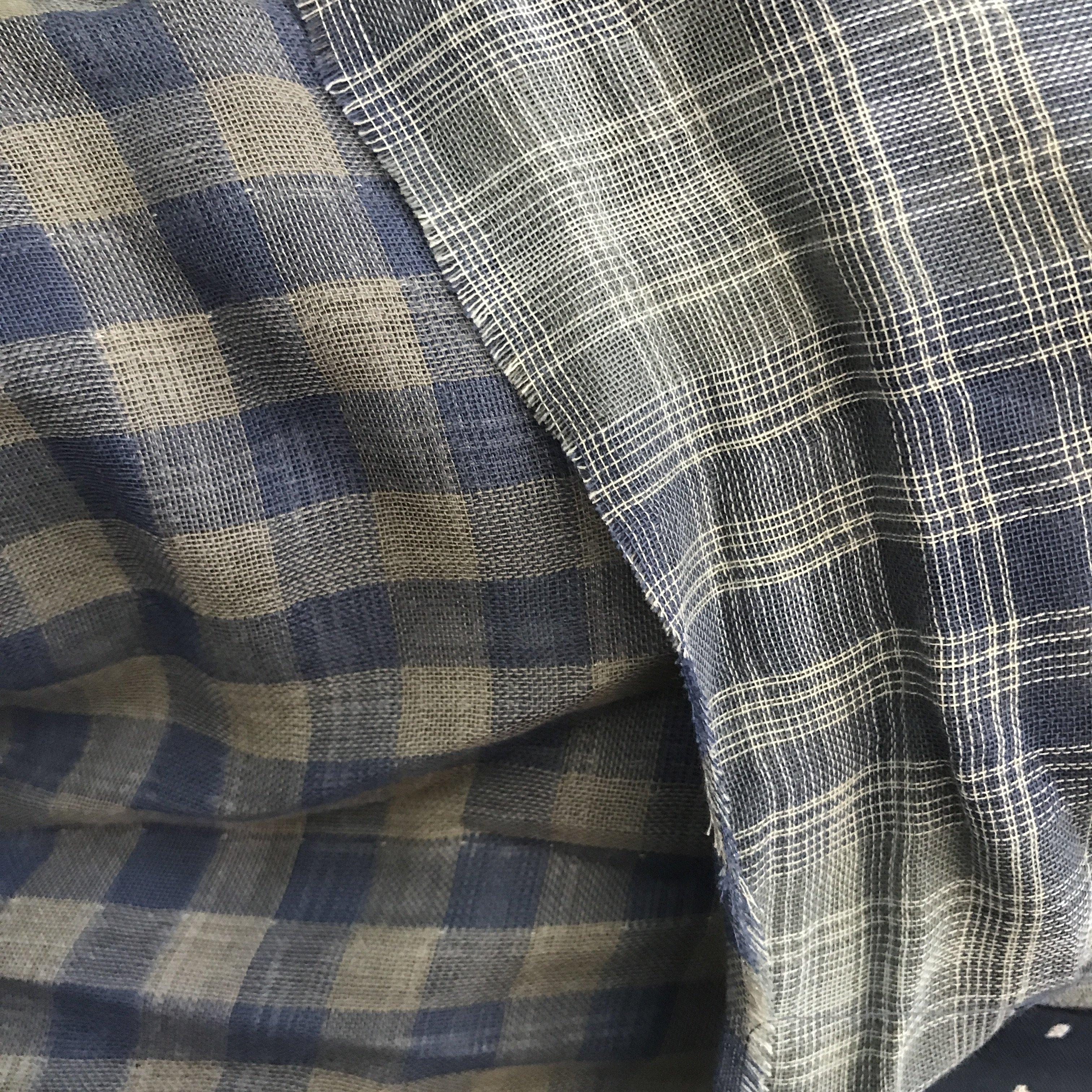 Plaid Blue Double Gauze Organic Cotton