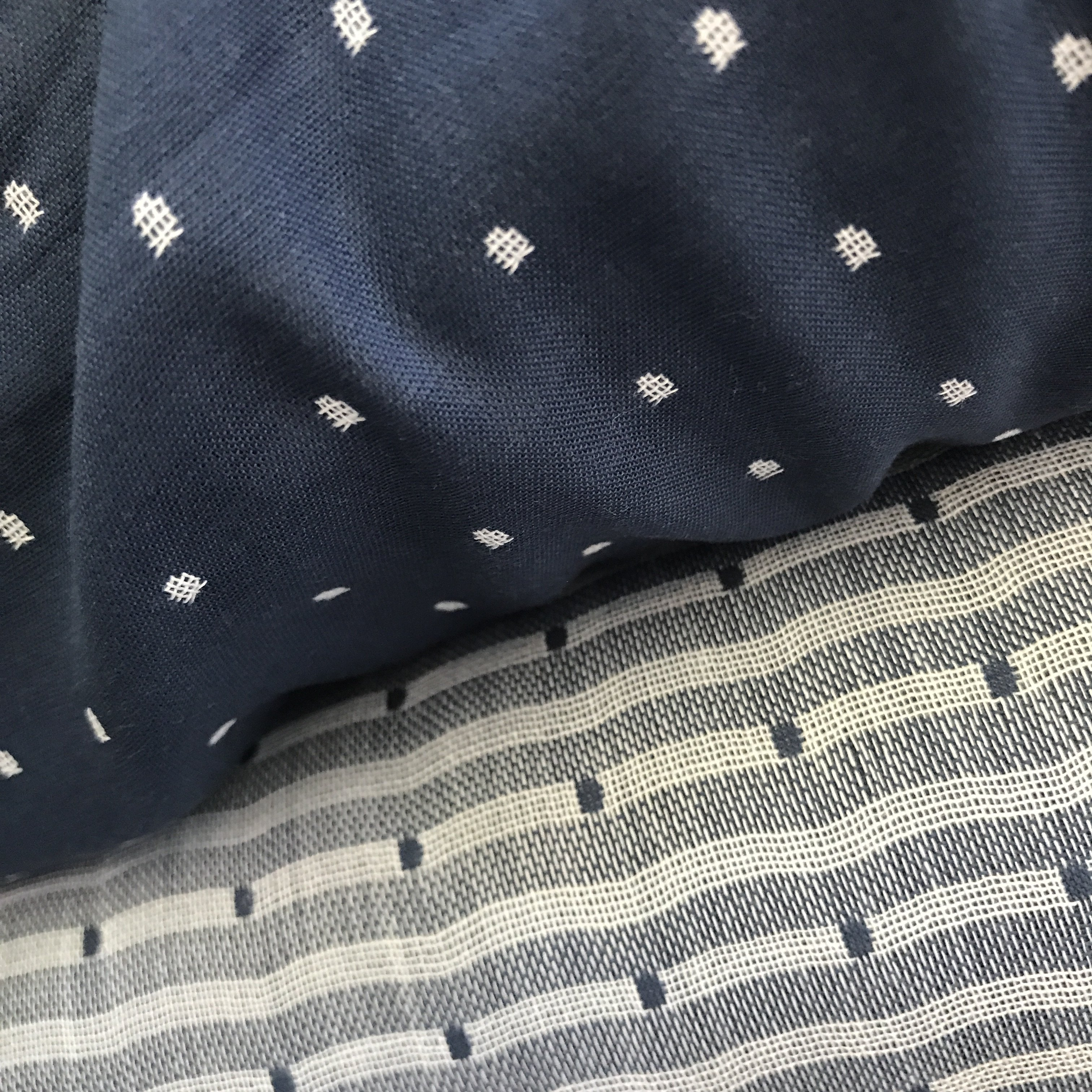 Polka Dot Blue Double Gauze Organic Cotton