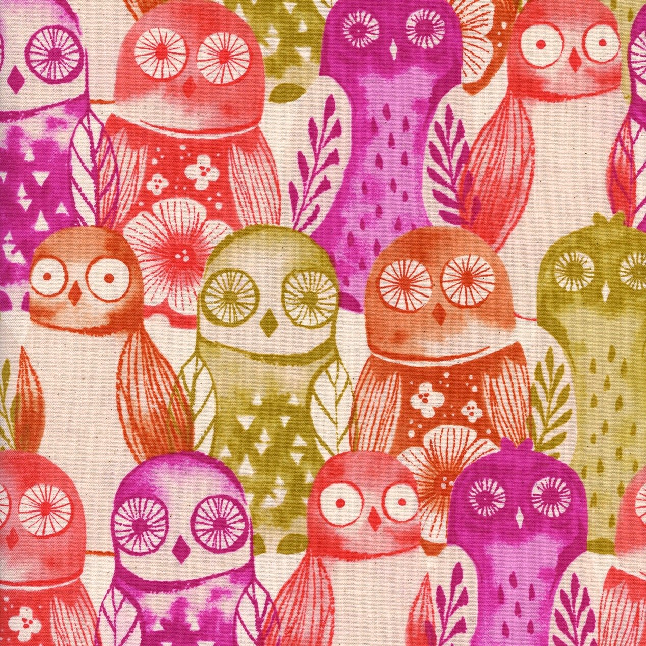 Wise Owls, Fuchsia, Firelight