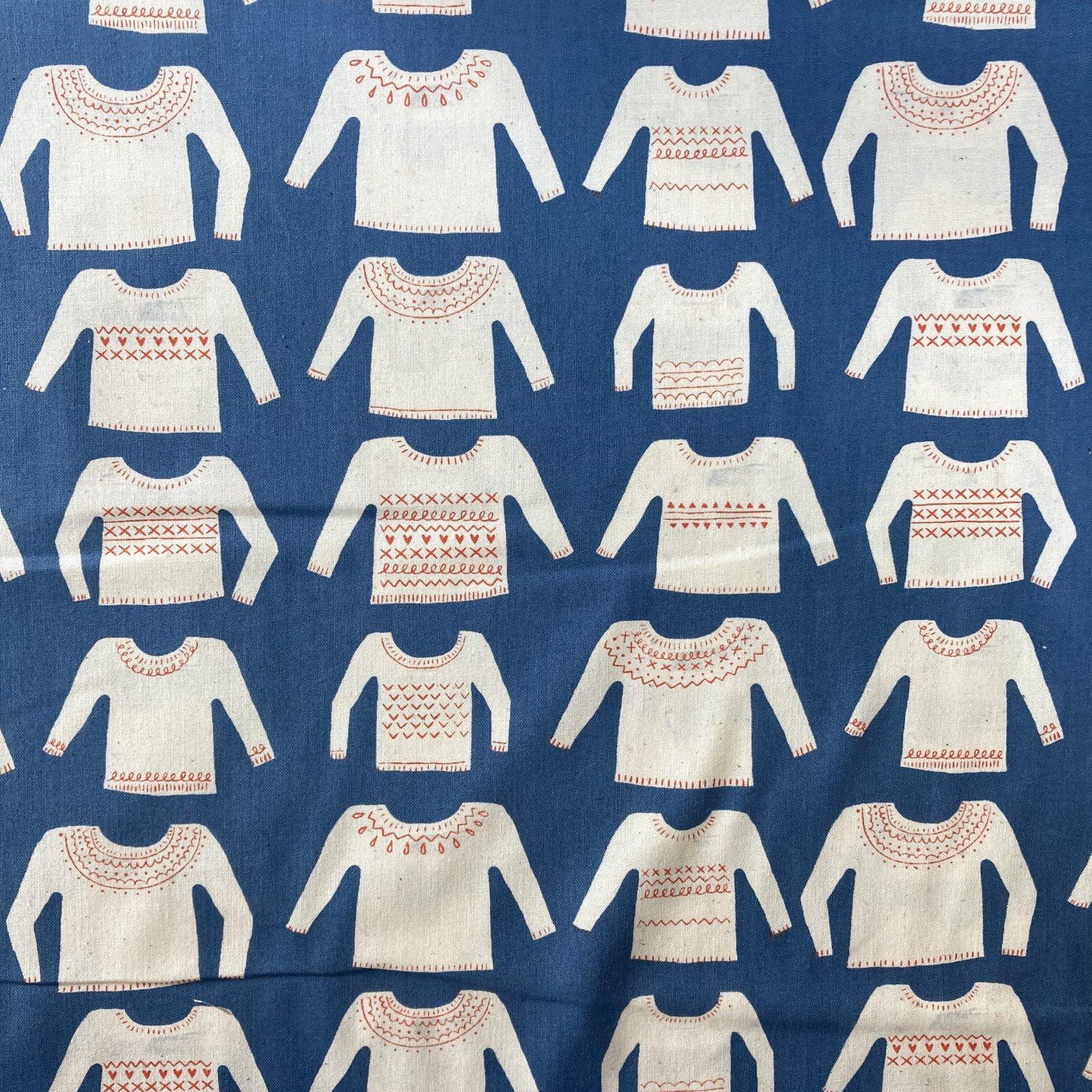 Cozy, My Favorite Sweater, Blue Unbleached Cotton