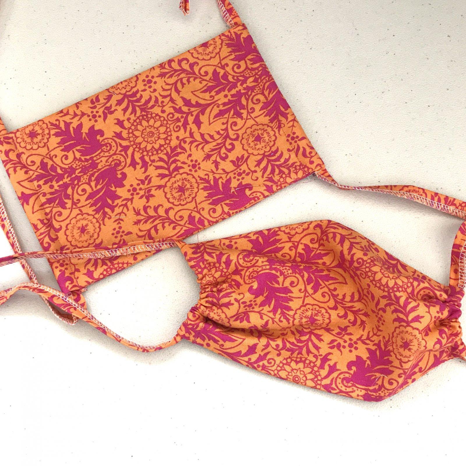 3 Layer Cotton Drawstring Mask - Tangerine Floral