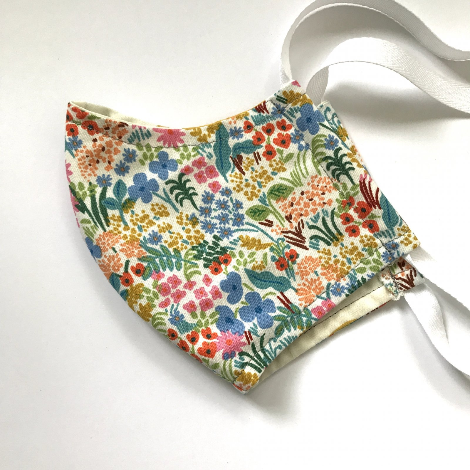 Child Size Contoured Cotton Drawstring Mask - Multi Floral