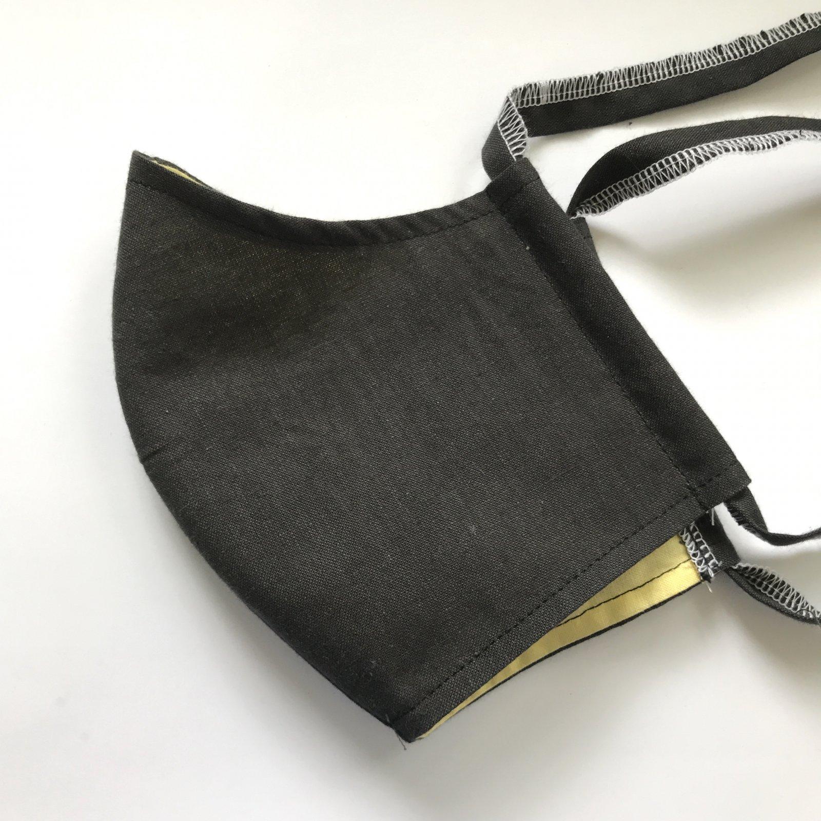 Adult Size Contoured Cotton Drawstring Mask - Black