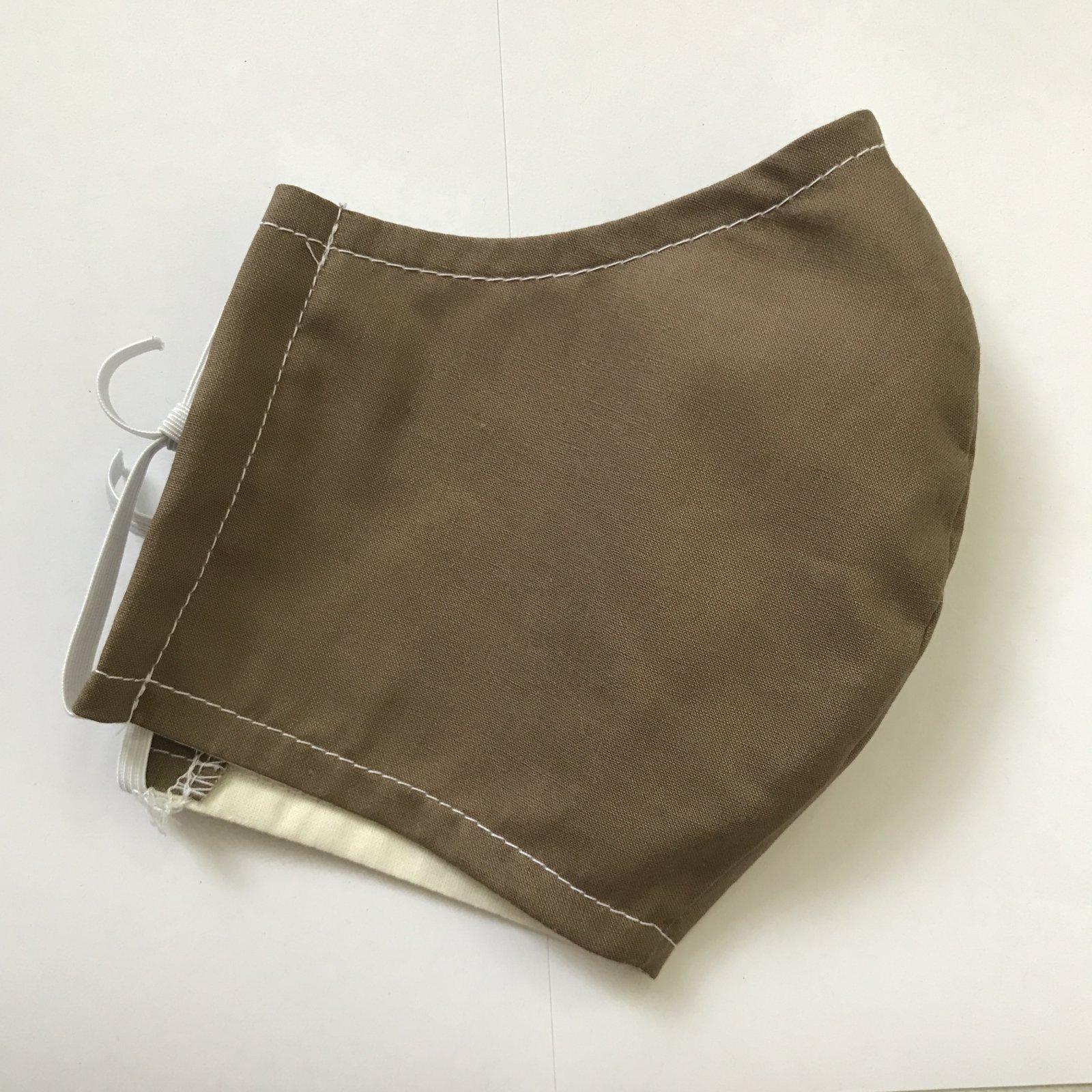 Adult Size Contoured Cotton Elastic Mask - Brown
