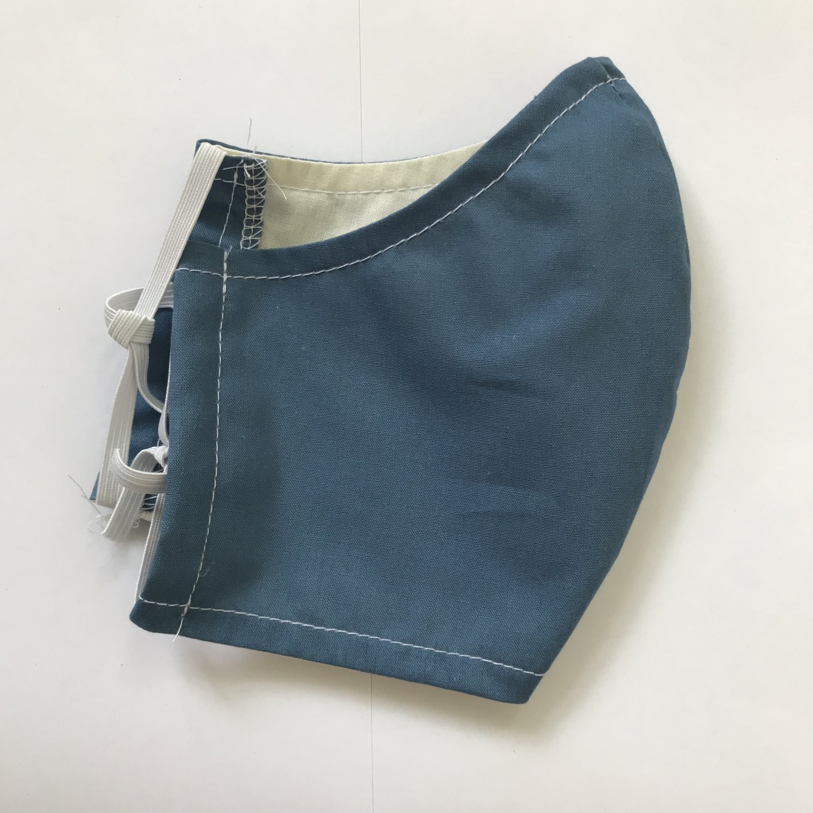 Adult Size Contoured Cotton Elastic Mask - Blue