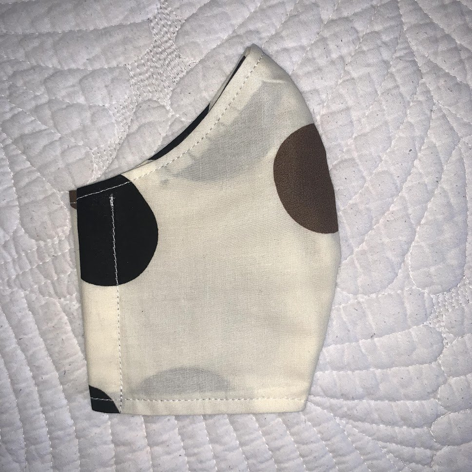 Child Size Contoured Cotton Ties Mask - Tan and Black Dots