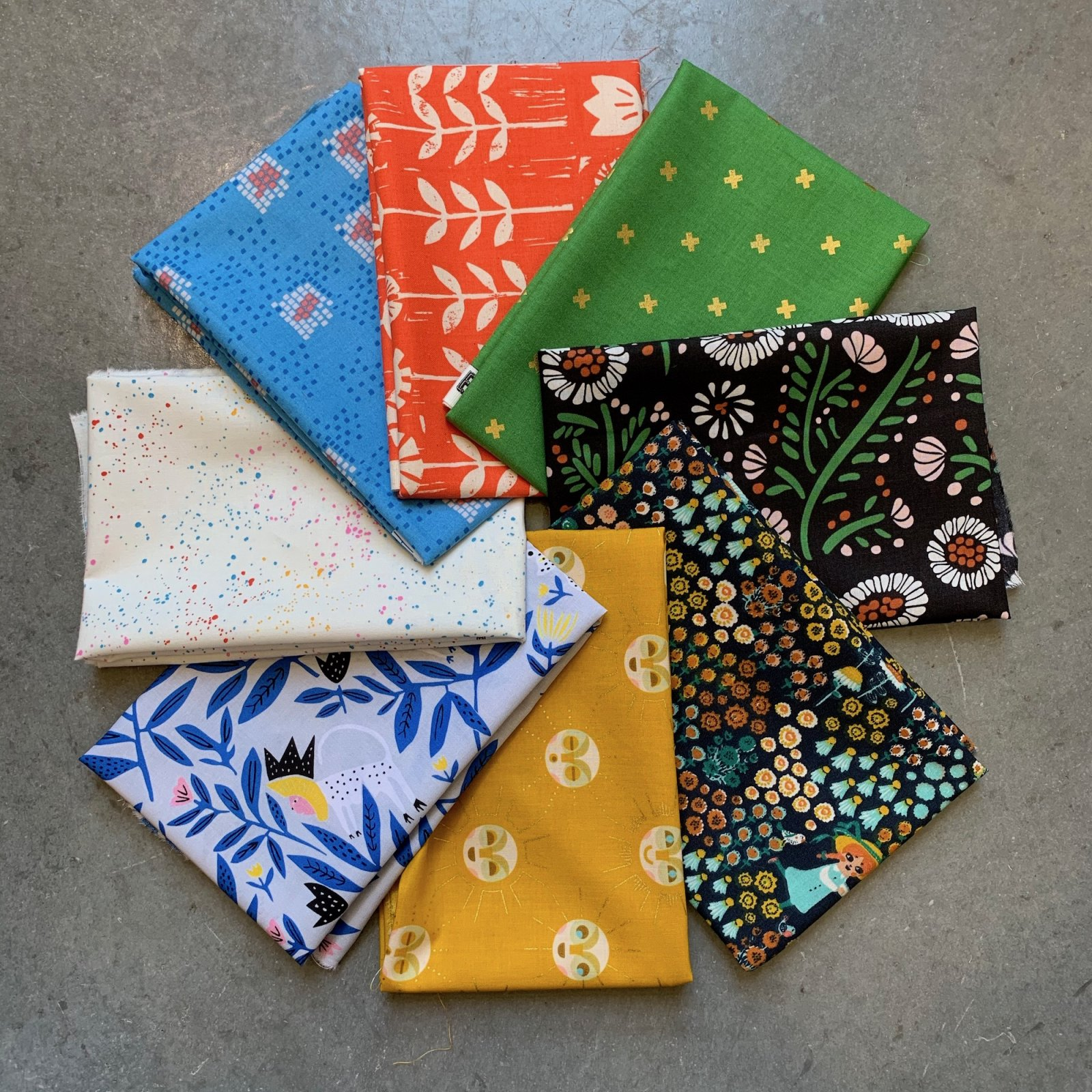 Kinder Garden, Fat Quarter Bundle, Collab with Stitched in Color