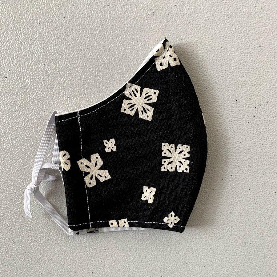 Adult Size Contoured Cotton Elastic Mask - Black Paper Cuts