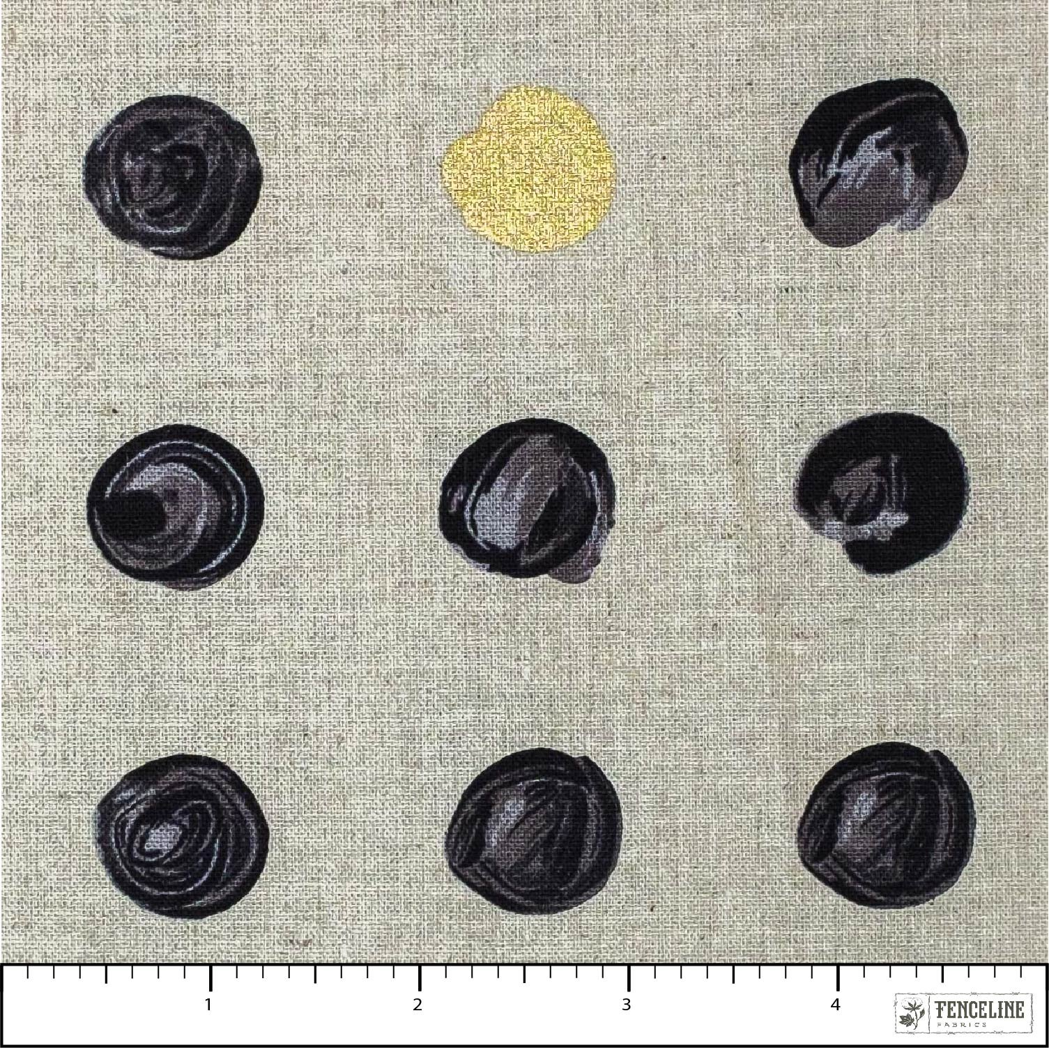 Linen Charcoal and Gold Dots, Chill Mochi Linen