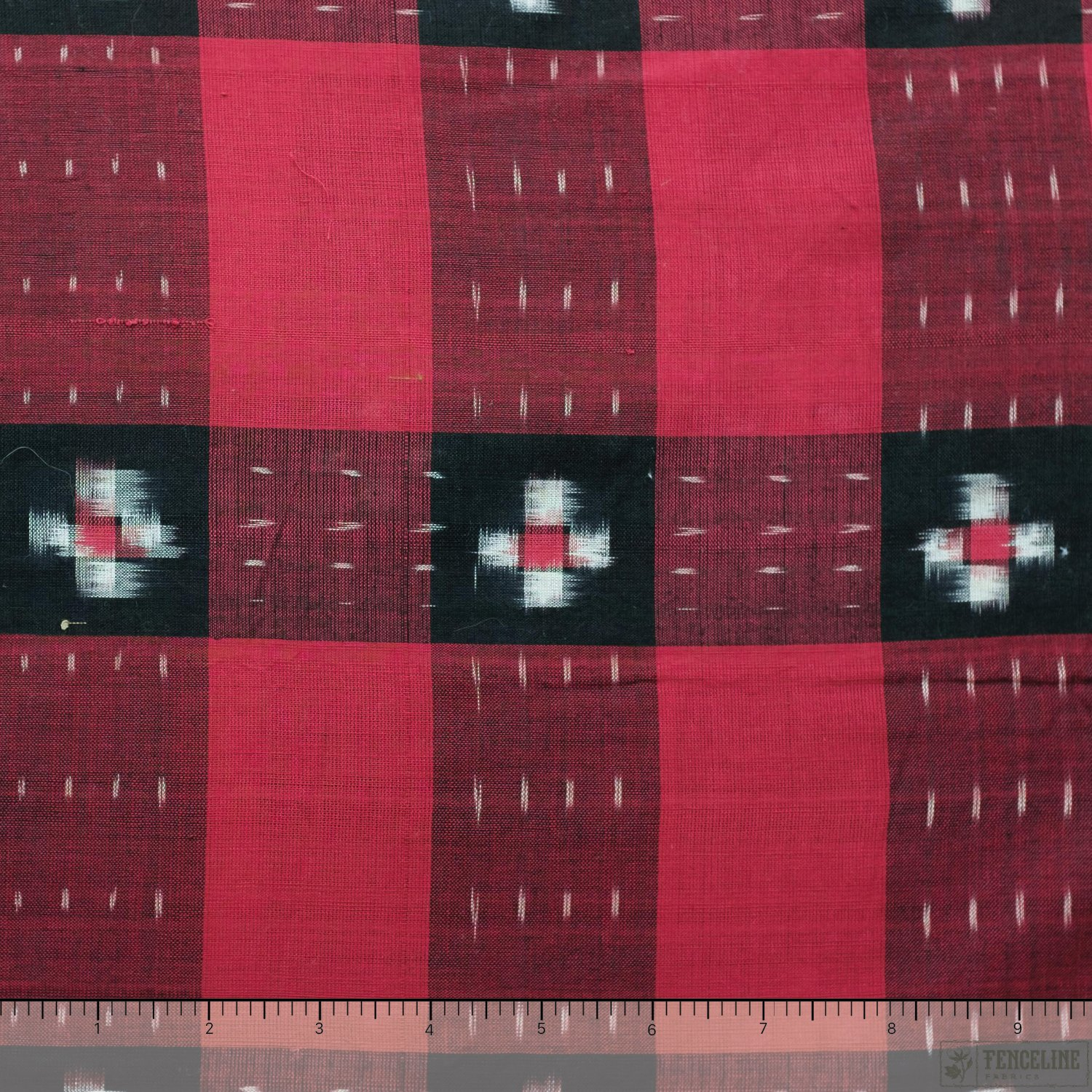 Red and Black Special Checkered Ikat, Fair Trade Handwoven