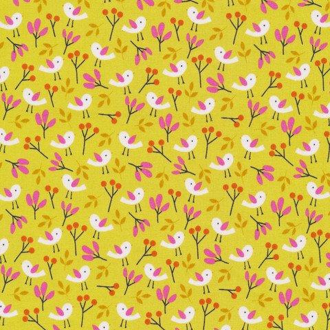 Spring Birds Citron, Organic Cotton