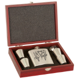 6 oz Stainless Steel Flask Set with Wood Presentation Box