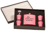 6 oz Matte Pink Stainless Steel Flask Set with Presentation Box