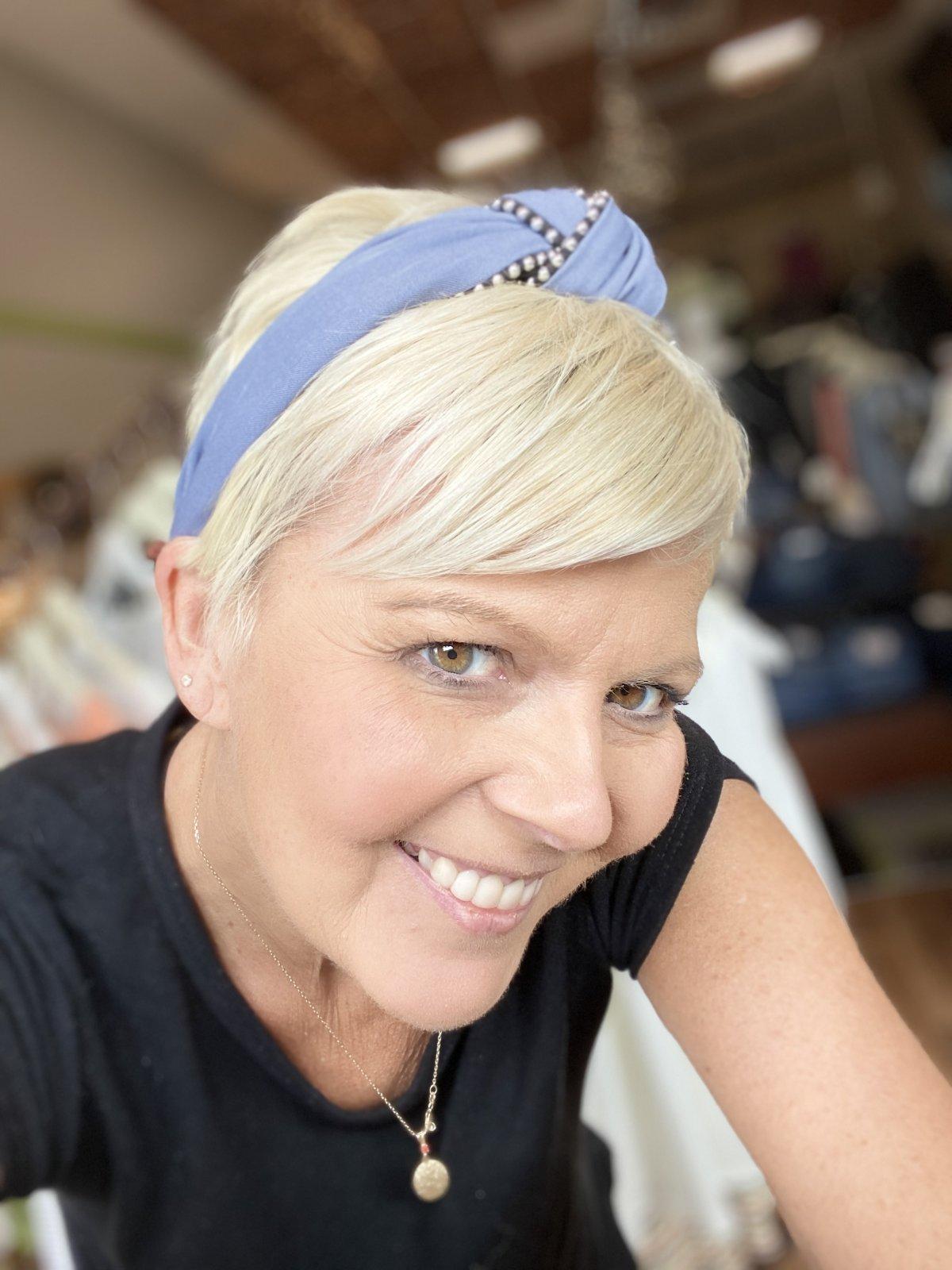 blue grey headband