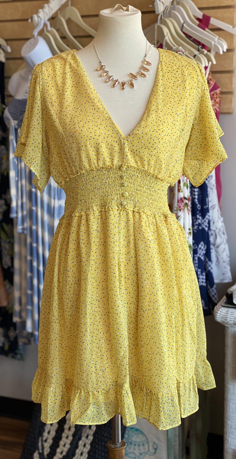 sunny yellow dress ruffle sleeve