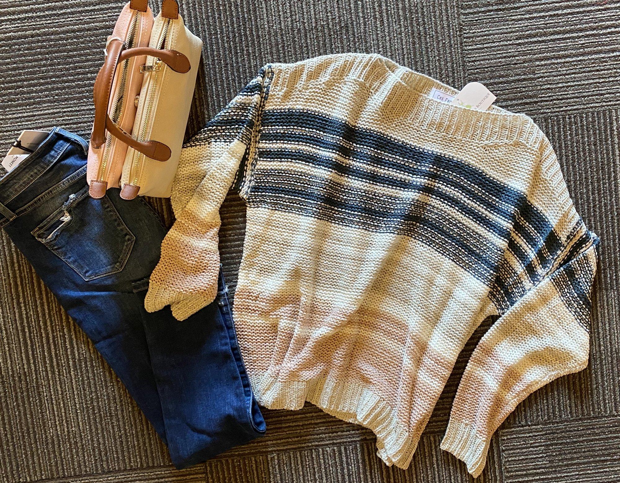 ces femme taupe multi stripe sweater
