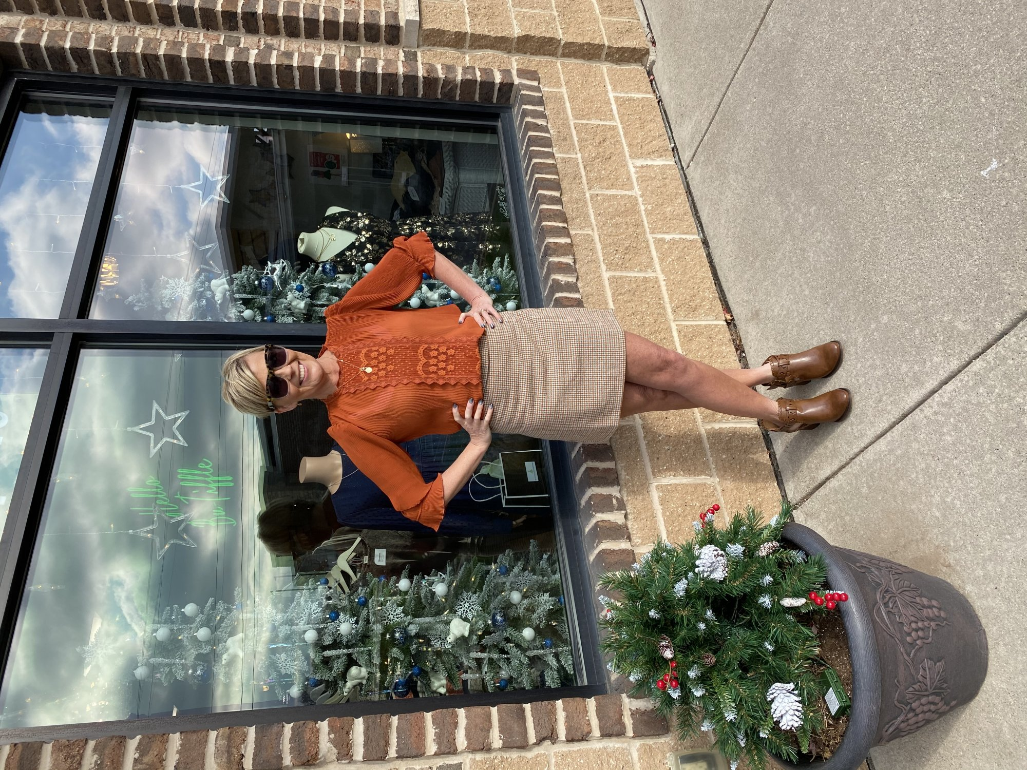 lace rust blouse
