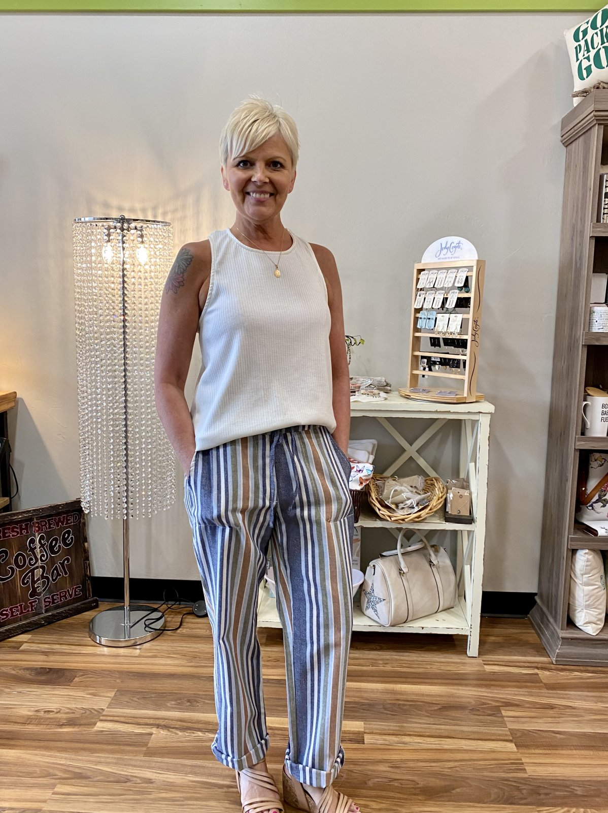 fun striped drawstring pants