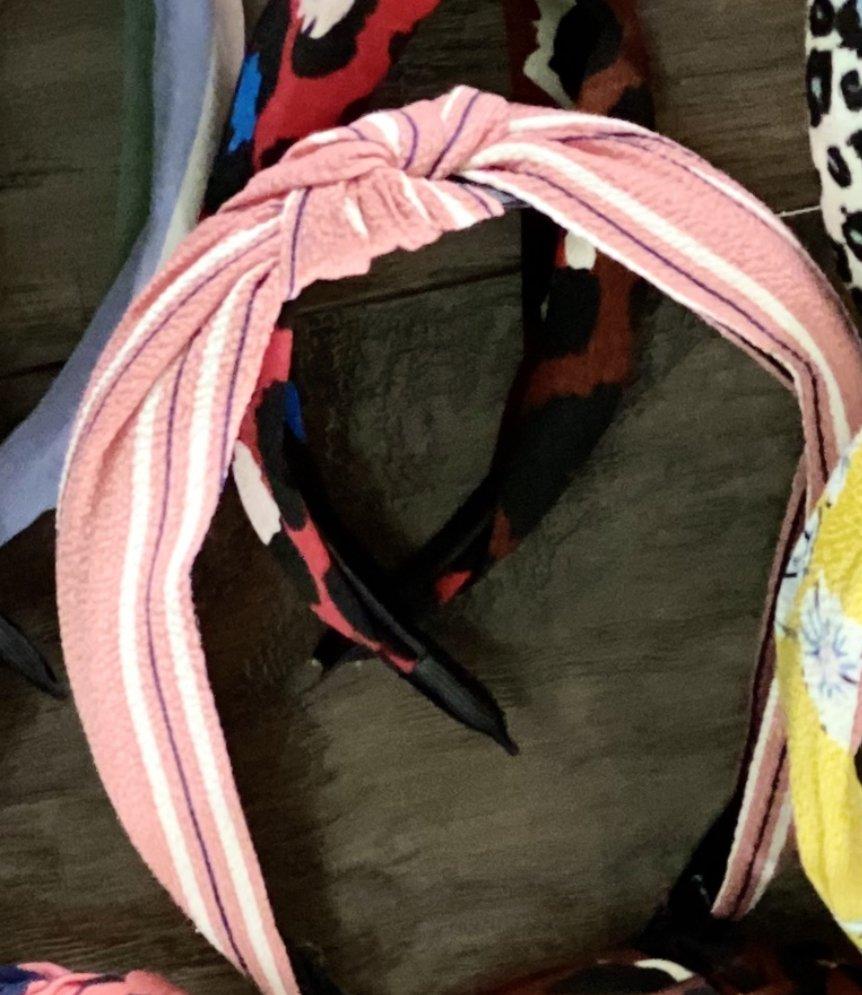 pink stripe headband