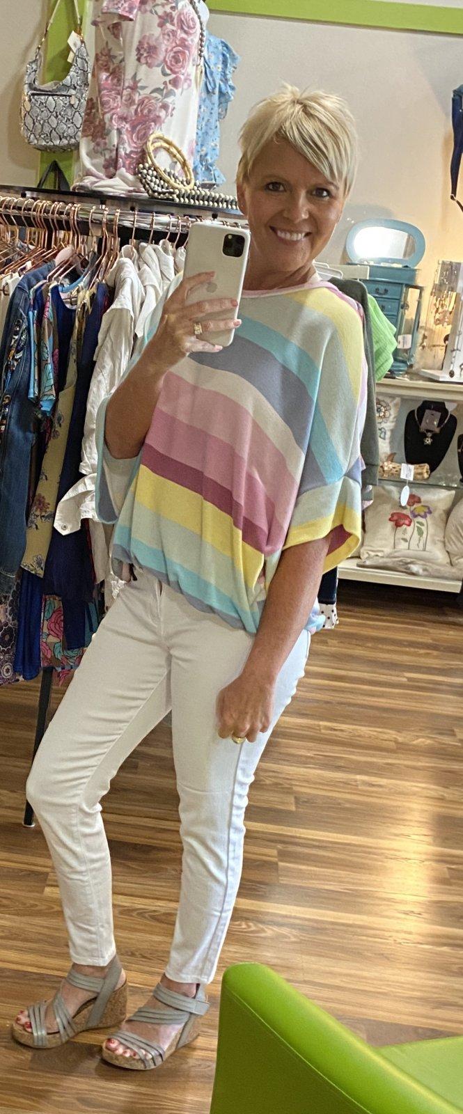 blue buttercup multi striped rainbow