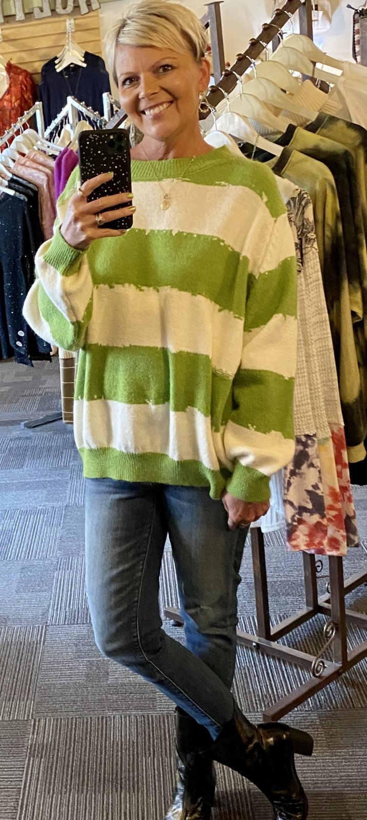 spot light one size green stripe sweater