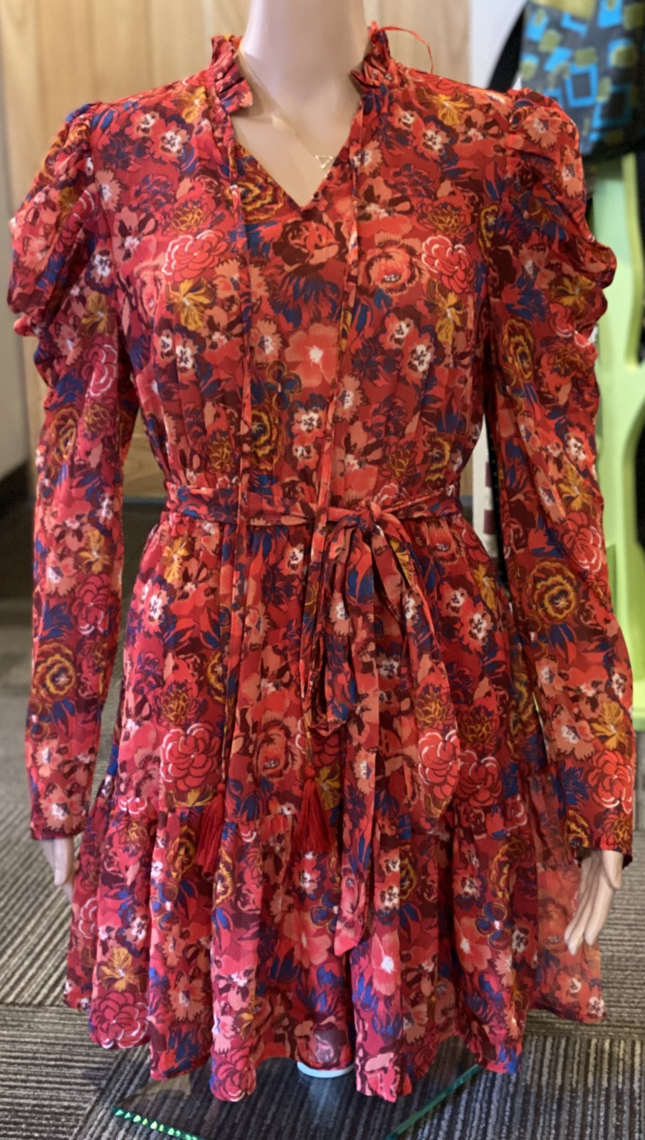 A calin flying tomato red floral dress